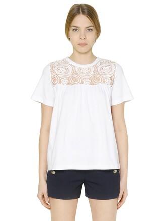 t-shirt shirt lace cotton white top