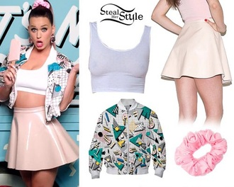katy perry skirt top bomber jacket 90s style