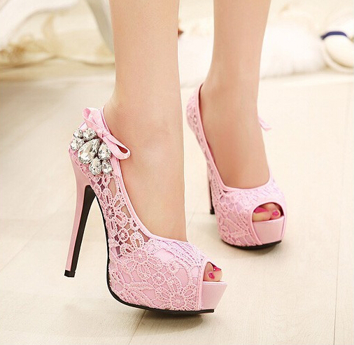 2014Fashion Women High Heels Lace Rhinestone Pump Pink and Beige Shoes For Bride and bridesmaid Size 35 39-in Pumps from Shoes on Aliexpress.com | Alibaba Group