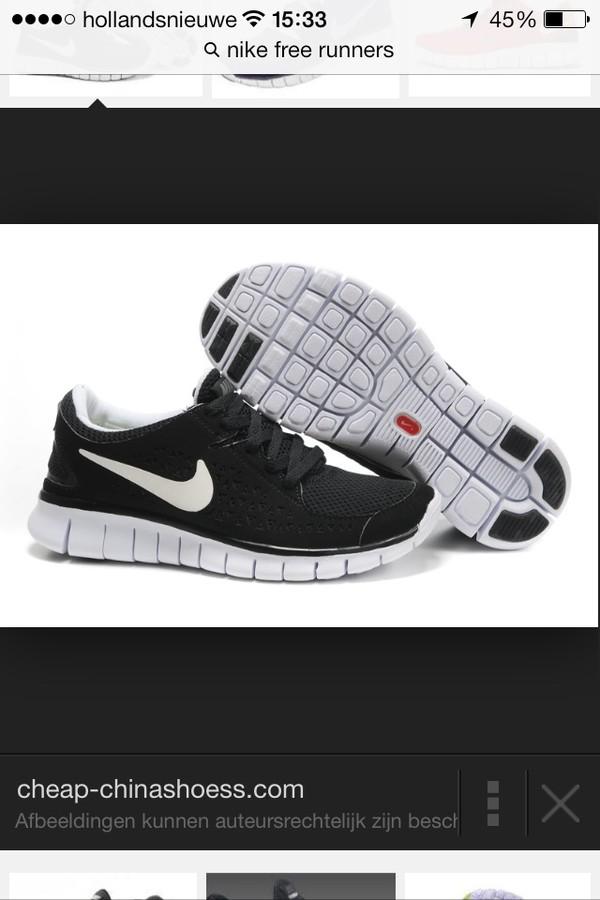 shoes black white nike freerun