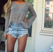shorts,blouse,denim,grey,t-shirt,sweater,shirt,cute,summer,tan,High waisted shorts,denim shorts,ripped shorts,heels on gasoline,nails,shoes,summer outfits,ebonylacefashion,www.ebonylace.storenvy.com,long sleeves,grey sweater,heather,soft,knit,cotton,band t-shirt,jeans,ripped,fray,frayed,light,short,outfit,tumblr,love,light blue,distressed denim shorts,distressed high waisted jeans