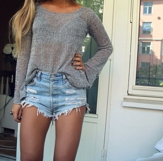 shorts denim t-shirt grey blouse sweater shirt long sleeves gray grey sweater cotton knitwear soft heather band t-shirt