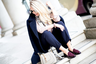 coat tumblr black coat work outfits office outfits pants black pants top white top bag white bag shoes burgundy loafers blonde hair sunglasses