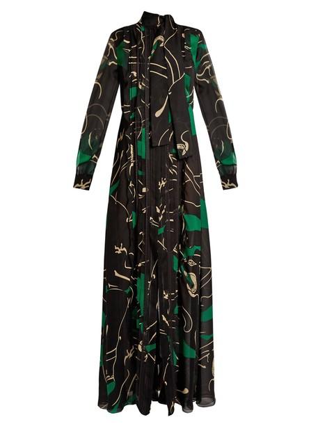 Valentino gown print silk black green dress