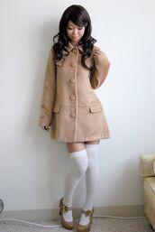 coat,knee high socks,thigh highs,heels,himekaji,japan,japanese,japanese fashion,asian,asian fashion,winter outfits,winter coat,tan,tan coat,high heels,cute high heels,jacket,white,cute,kawaii,cute dress,coat dress,dress coat,gyaru