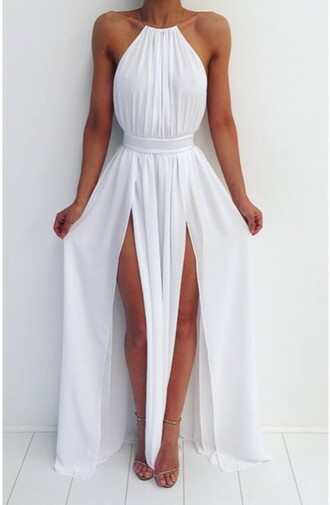 dress white summer maxi dress prom dress wedding dress white dress summer dress white high waisted maxi dress black dress fashion maxi sexy white dress elegant long dress white long dress white halter neck dress long sleeve dress double slit dress méxico double slit skirt