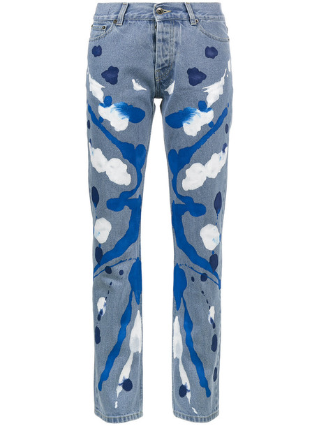 Mirco Gaspari - Mid blue 501 paint splattered jeans - women - Cotton - 25, Cotton