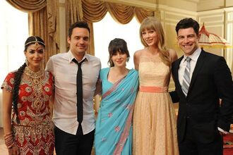 dress new girl zooey deschanel celebrity taylor swift hannah simone jake johnson max greenfield blue dress red dress yellow dress mens suit menswear mens shirt mens tie tv show