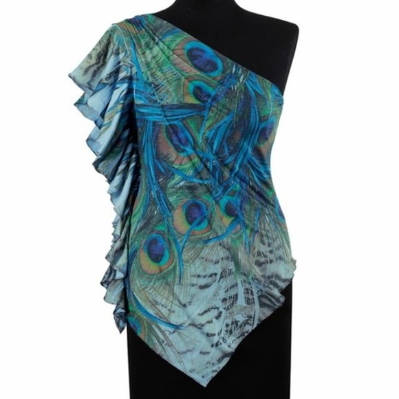 asymmetrical shirt peacock pattern blue green peacock multi-colored one shoulder short sleeve aqua aqua blue jeans