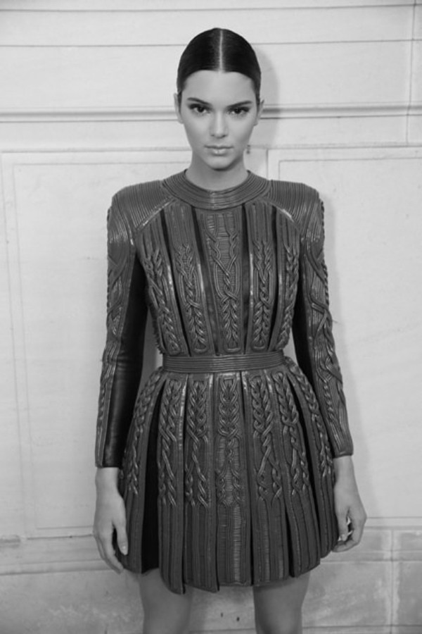 green kendall jenner balmain texture dress