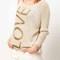 Beige long sleeve glitter love print sweater