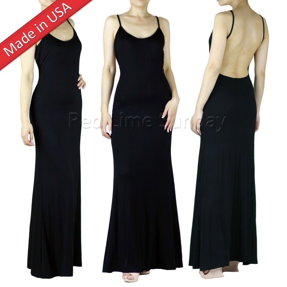 New Minimalist Black Backless Slip Open Back Jersey Full Length Long Maxi Dress