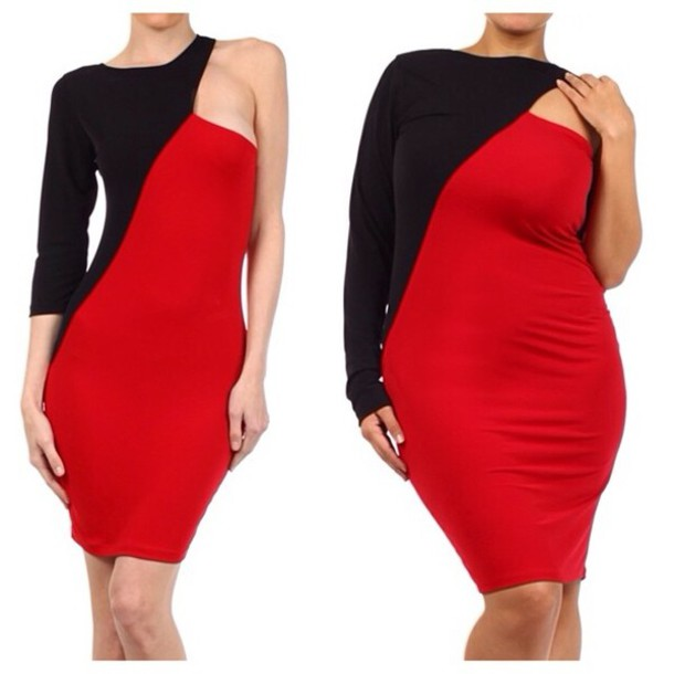 dress, red, black, one sleeve dress, plus size, bodycon ...