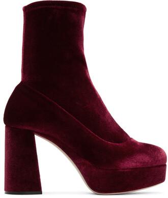 boots sock boots velvet burgundy shoes