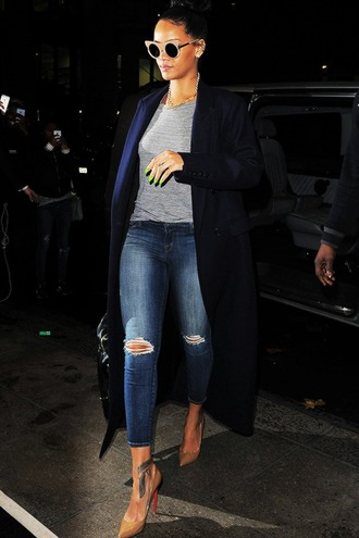 nail polish rihanna nails neon nail polish sunglasses edgy sunglasses jeans ripped jeans cropped skinny jeans rihanna outfit rihanna jeans coat rihanna style long coat navy blue coat