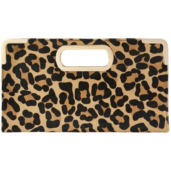 Dune Evies Suede Metal Trim Clutch Bag , Leopard Print - Polyvore