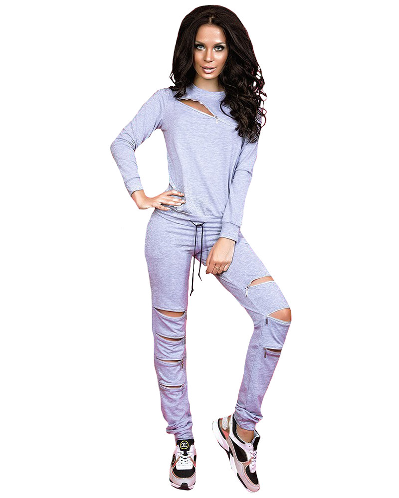 Gray Energy Zipper Cut Sweatshirt Zipper Jogger Sweatpants Tracksuit