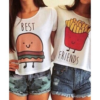 t-shirt hamburger fries