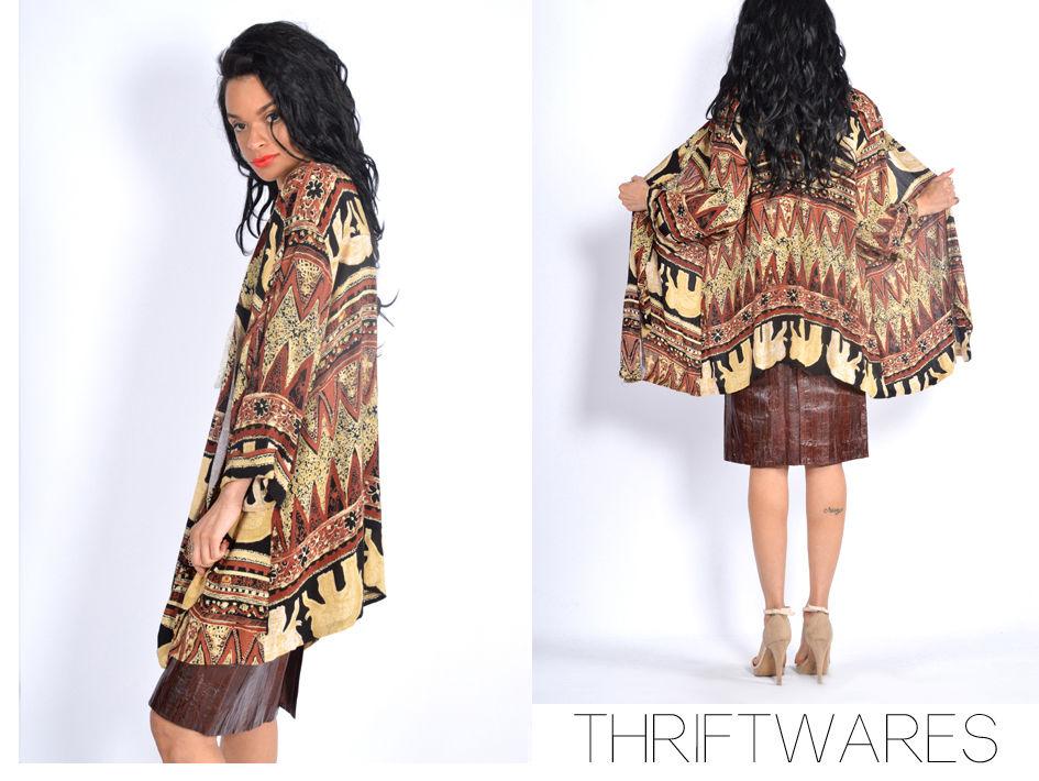 vtg 80s uber draped ELEPHANT PRINT kimono boho hippie festival jacket xs-m | eBay