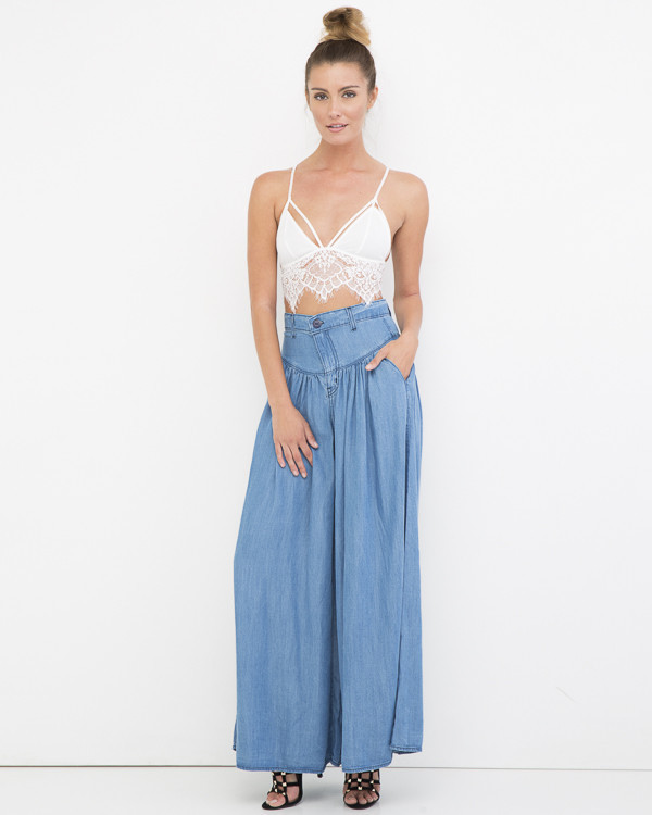 VINTAGE FANTASY Denim Palazzo Wide Leg Pant at FLYJANE