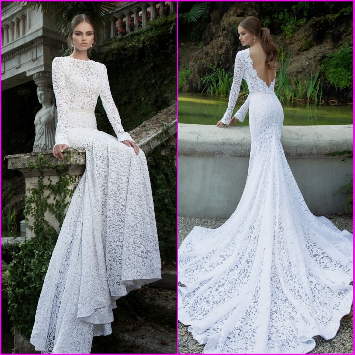 Aliexpress.com : Buy Vintage Lace Bridal Gowns Custom Made White Ivory Sexy Backless Long Sleeves Lace Mermaid Wedding Dress from Reliable dress blue army uniform suppliers on 27 Dress