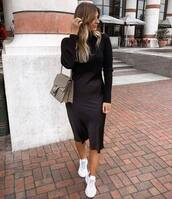 dress,black dress,midi dress,turtleneck,satin,white sneakers,shoulder bag