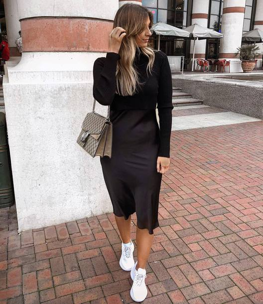 dress black dress midi dress turtleneck satin white sneakers shoulder bag