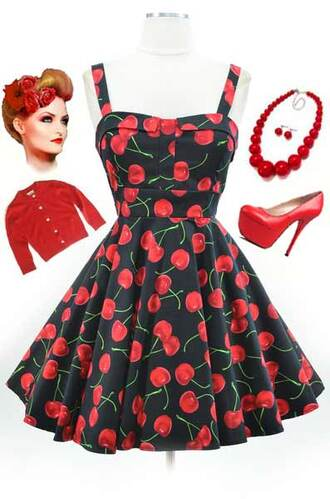 cherry vintage 50s style print dresses clothing collection