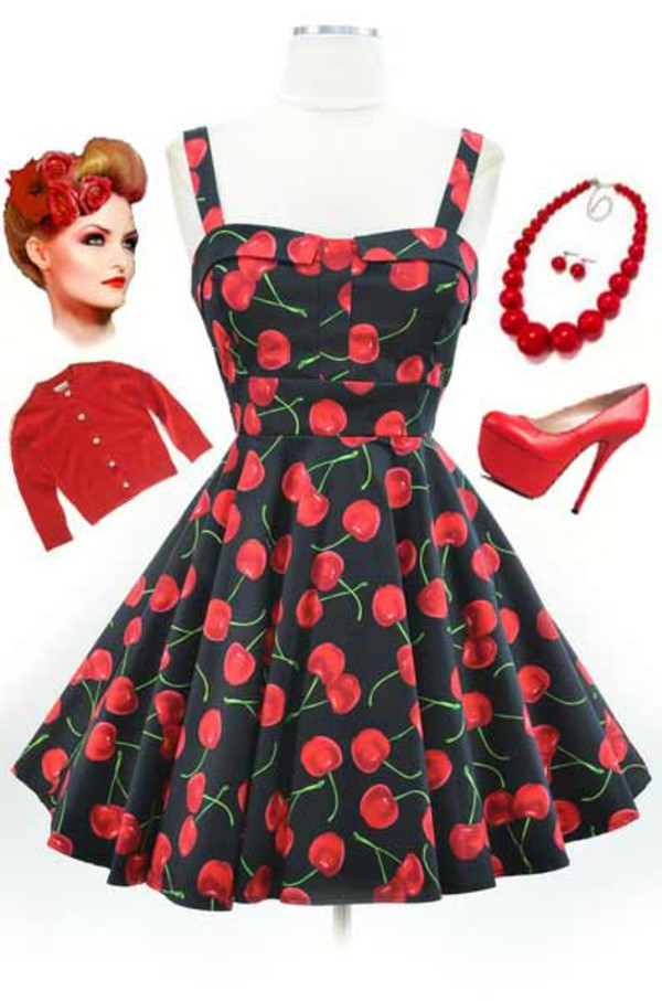 50s style vintage cherry printed dress clothing collection