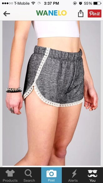 shorts grey gray grey shorts lace white white lace lace shorts soft soft shorts cute hipster summer summer outfits bottoms