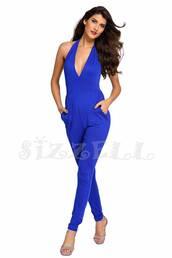 jumpsuit,royal blue,blue,dress,royal blue dress,halter top,royal blue jumpsuit,halter jumpsuilt,open back,straight leg trousers,harem pants