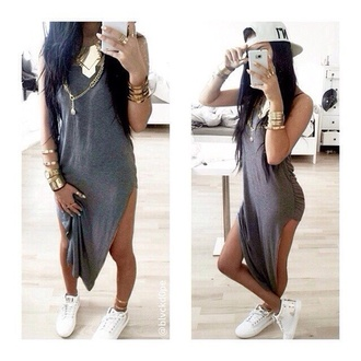 dress long grey dress