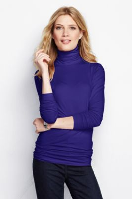 Women's Solid Fitted Lightweight Cotton Modal Turtleneck ...