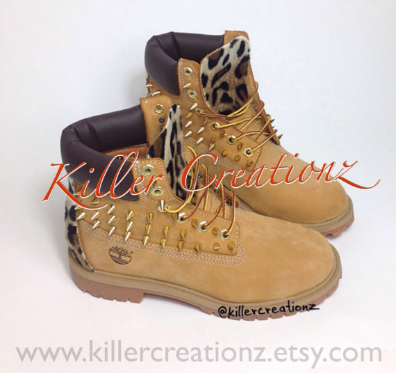 custom spiked timberland boots with leopard made to order
