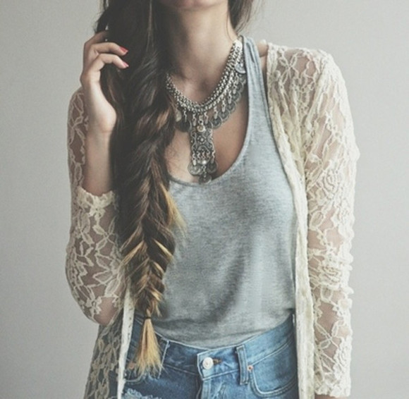 white fashion cardigan girly flowy jewels necklace jacket thing top