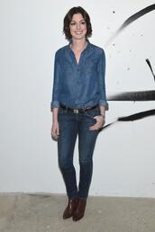jeans,denim,denim shirt,anne hathaway,ankle boots,shoes