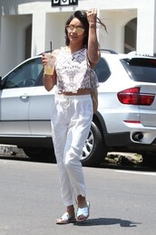top,crop tops,pants,slide shoes,vanessa hudgens,sunglasses,white pants,crop tank,metallic slides