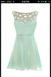 dress,mint and silver dress,mint dress,homecoming dress,sparkle,ice blue,knee length dress,fit and flare,formal dress,mini prom dress,sleeveless prom dress,beaded prom dress,cute prom dress