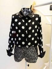 blouse,collar,polka dots,polka dot blouse,black and white