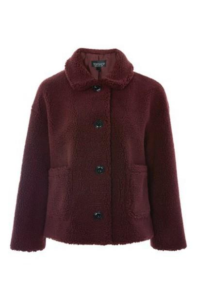 Topshop jacket cropped burgundy