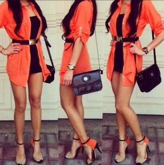 blouse shoes orange black dress black beige shoes beige belt t-shirt dress dress