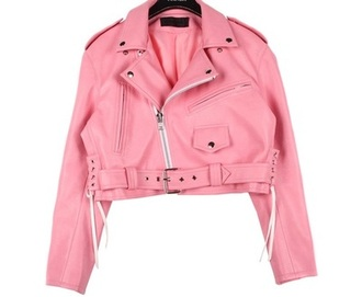 jacket pink leather jacket pastel goth