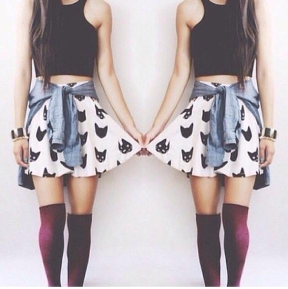 cats skirt socks top