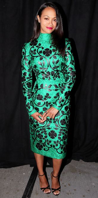dress midi dress green zoe saldana emerald green