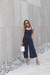 lilly's style,blogger,jumpsuit,shoes,bag,sunglasses,top,underwear,sandals,handbag