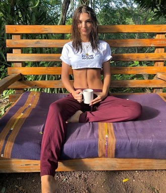 top crop tops pants emily ratajkowski model off-duty instagram sweatpants