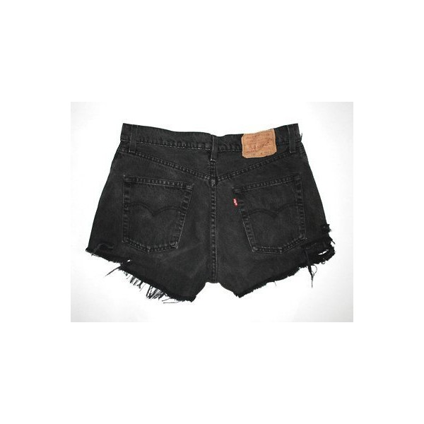 LEVIS 555 Cut Off HIGH WAIST RIPPED BLACK Denim Shorts Dieca... - Polyvore