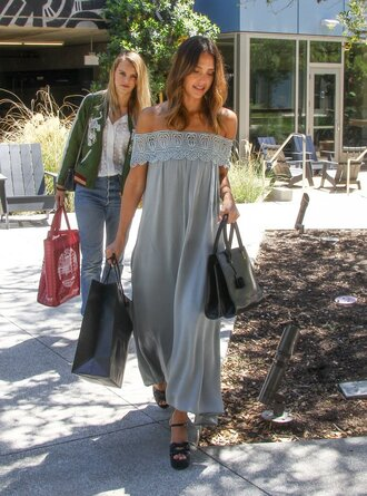 dress maxi dress summer dress summer jessica alba platform sandals off the shoulder off the shoulder dress