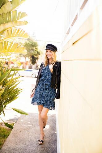 the stylish housewife blogger dress jacket shoes black leather jacket fisherman cap blue dress sandals