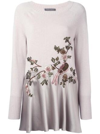jumper women floral nude silk wool sweater